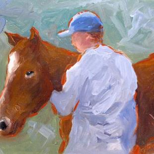 Art: A horse and his Owner by Artist Deborah Sprague
