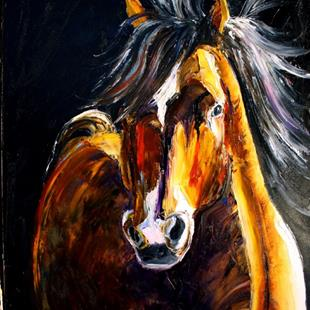 Art: NIGHT WIND Third in the Series Wild Horses by Artist Laurie Justus Pace
