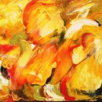 Art: Golden Poppies Abstract by Artist Laurie Justus Pace