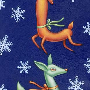 Art: Christmas 2008 - Dancing Deer by Artist Valerie Jeanne