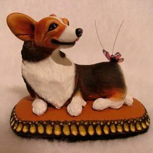 Art: Red-Headed Tri Corgi & Butterfly by Artist Camille Meeker Turner