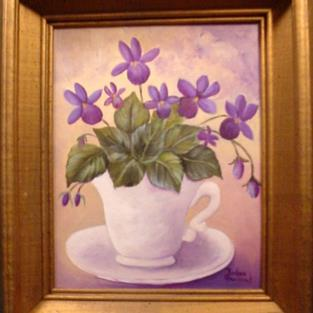 Art: Wild Violets in tea Cup//Ssold by Artist Barbara Haviland