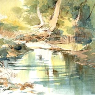 Art: Rush Creek Pool (plien aire sketch) by Artist Cathy  (Kate) Johnson