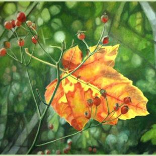 Art: Leaf and Rosehips by Artist Harlan