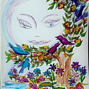 Art: Moon-face 5:  Full Moon by Artist Karin Elizabeth Weiss
