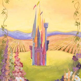 Art: Fairy Tale Castle with Garden   by Artist Cynthia Schmidt