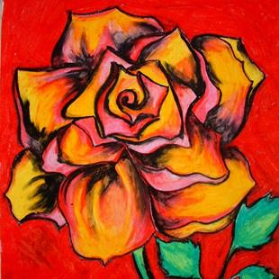 Art: Yellow and Pink Rose by Artist Chris Jeanguenat