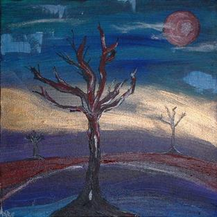Art: Red Moon Scare Night by Artist Kathleen A. Roberson
