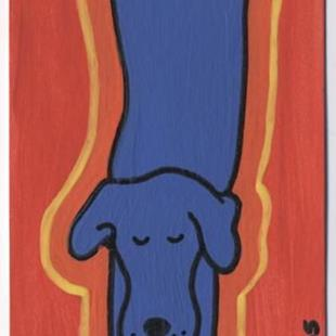 Art: Blue Tide Dog ACEO by Artist Jenny Doss