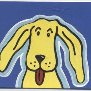 Art: Goofy Yella Dog ACEO by Artist Jenny Doss