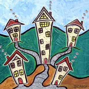 Art: Crooked Village  by Artist Diane G. Casey