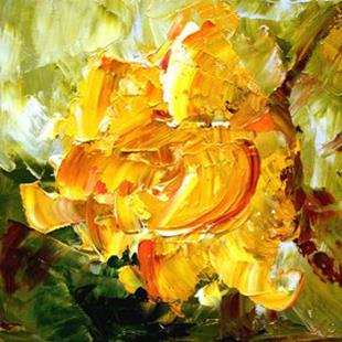 Art: Yellow Miniature Rose by Artist Laurie Justus Pace