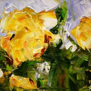Art: Three Yellow Miniature Roses by Artist Laurie Justus Pace