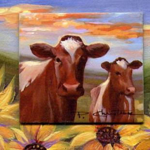 Art: ATC - Gentle Guernseys & Sunflowers  SOLD by Artist Patricia  Lee Christensen