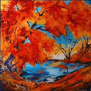 Art: Among the Red Trees by Artist Marcia Baldwin