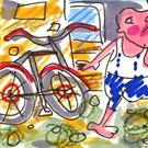Art: Big Bicycle Get-Away by Artist Elisa Vegliante