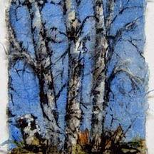 Art: Birch x 3 and a stump, card 2 by Artist Deborah Leger