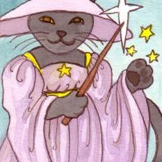 Art: Witchy Cat ACEO by Artist Carmen Medlin