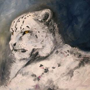 Art:   Moonlight Snow Leopard by Artist Laurie Justus Pace