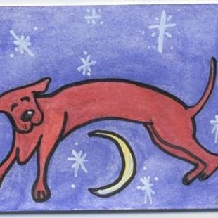 Art: Over the Moon ACEO by Artist Jenny Doss