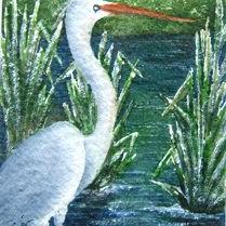 Art: Heron by Artist Deborah Leger
