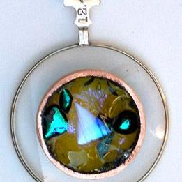 Art: Vintage Optical lens fused glass pendant by Artist Deborah Sprague