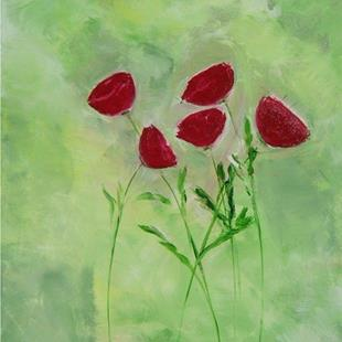 Art: Green with poppies by Artist Eridanus Sellen