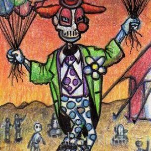Art: Cyborg Clown by Artist Robert Thomas Robie