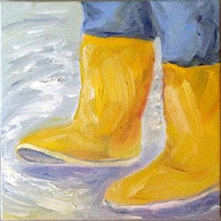 Art: Boots in a puddle by Artist Deborah Sprague