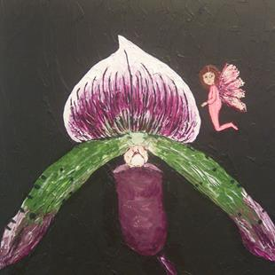 Art: Charity Auction Iris and fairy by Artist Sandi Gayle Stefkovich