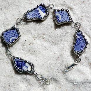 Art: Blue Willow Broken China Bracelet by Artist Dianne McGhee