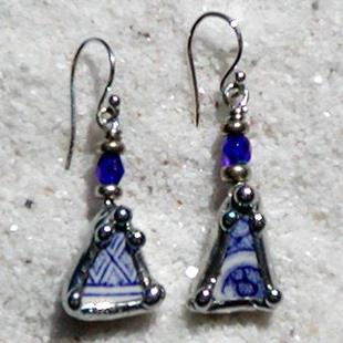 Art: Blue Willow Broken China Earrings by Artist Dianne McGhee