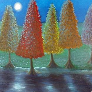Art: Escaping Christmas Trees SOLD by Artist Terri L West