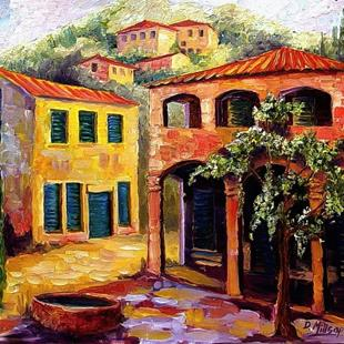 Art: Courtyard in Tuscany - SOLD by Artist Diane Millsap