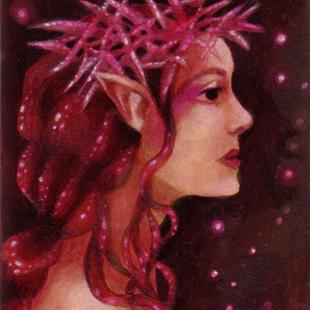 Art: Star Thistle Queen ACEO by Artist Carmen Medlin