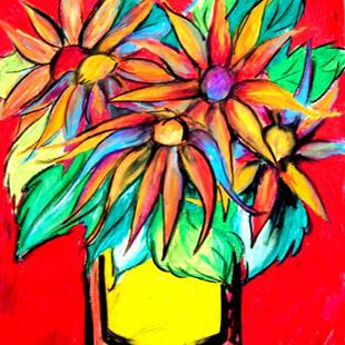 Art: Sunflowers in a Coffee Can by Artist Chris Jeanguenat