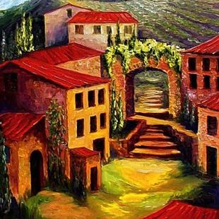 Art: Red Roofs in Provence by Artist Diane Millsap