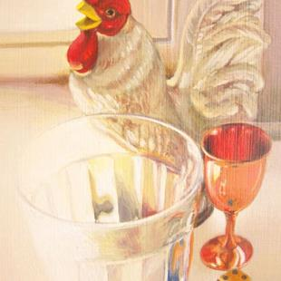 Art: Still life with rooster by Artist Lauren Cole Abrams