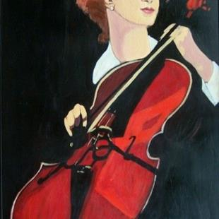 Art: cello viii (red cello) by Artist Amie R Gillingham