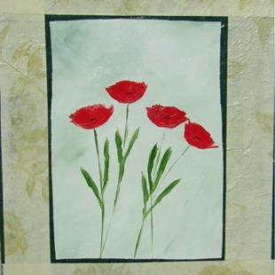 Art: Red Poppies with Green and tan Handmade Paper by Artist Eridanus Sellen