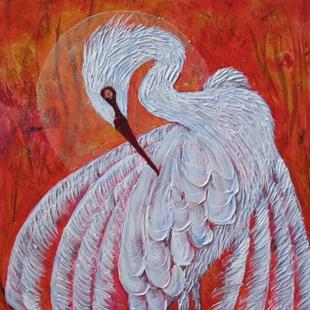 Art: Grassy Waters Egret -SOLD by Artist Ke Robinson