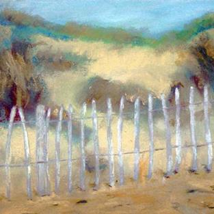 Art: Sand Dunes at Walberswick (Behind the Fence) by Artist John Wright