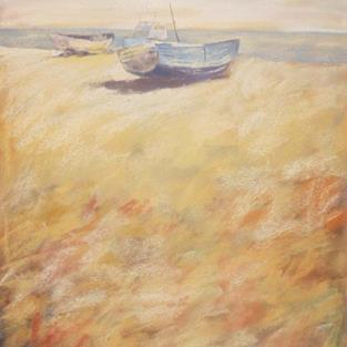 Art: Boats on Aldeburgh Beach by Artist John Wright