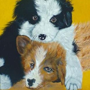Art: Collie Pups by Artist Dia Spriggs