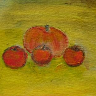 Art: Autumn pumpkin and apples by Artist Eridanus Sellen