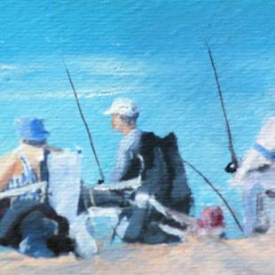 Art: Fishing Lincoln City Oregon by Artist Deborah Sprague