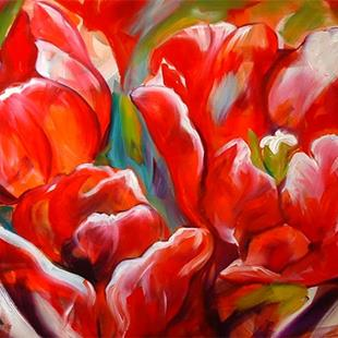 Art: ABSTRACT TULIPS by Artist Marcia Baldwin
