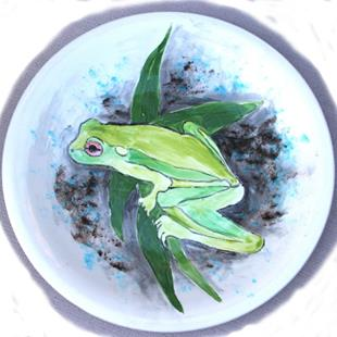 Art: Frog platter by Artist Deborah Sprague