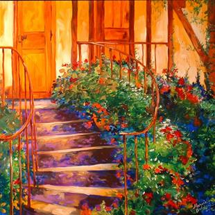 Art: A TUSCANY FRONT PORCH by Artist Marcia Baldwin