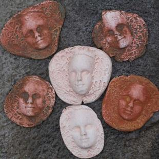 Art: Rustic face shard tiles by Artist Deborah Sprague